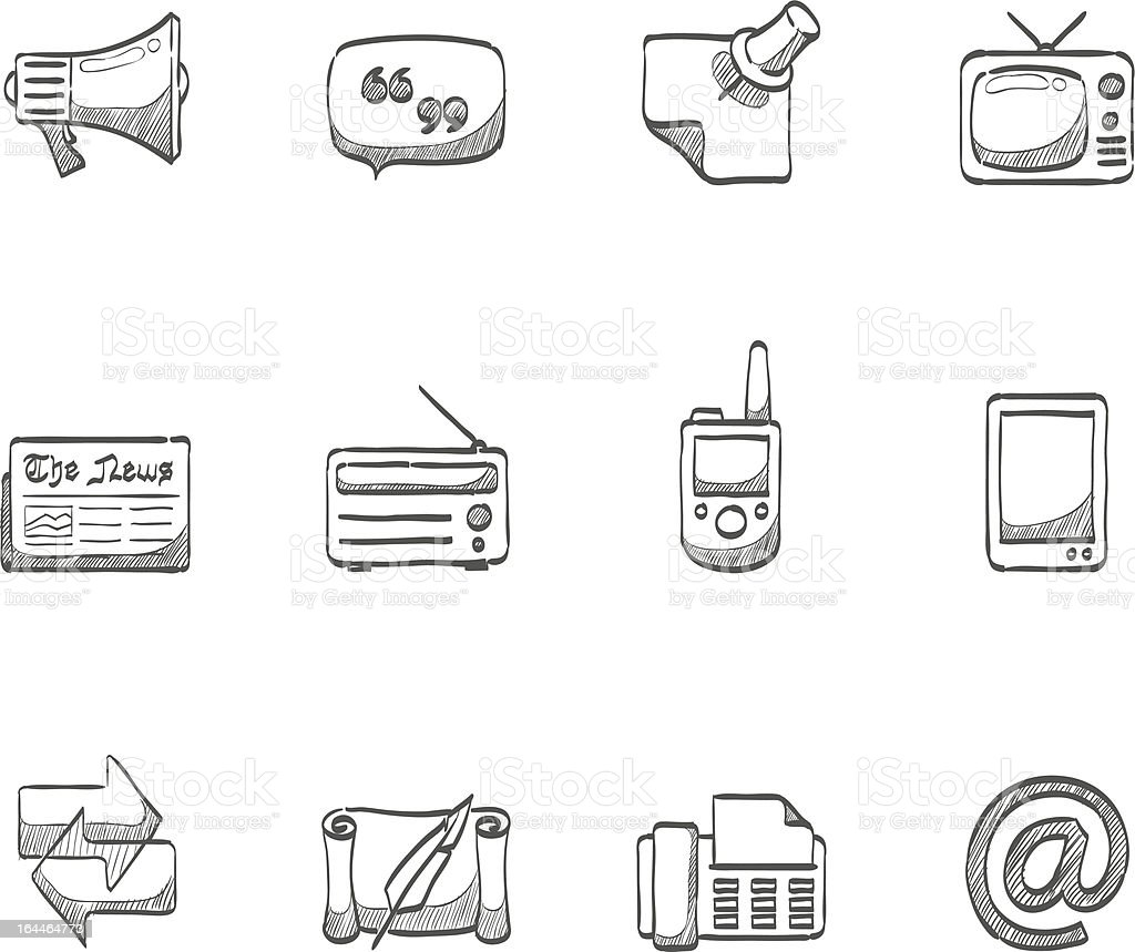 Sketch Icons - More Communication royalty-free stock vector art