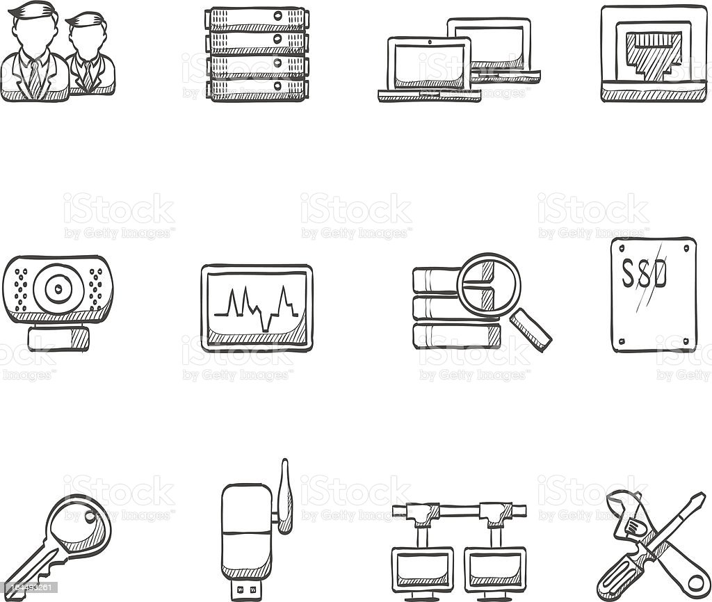 Sketch Icons - More Computer Network royalty-free stock vector art