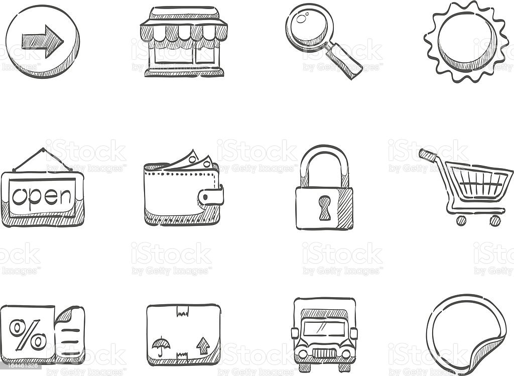 Sketch Icons - More Ecommerce royalty-free stock vector art