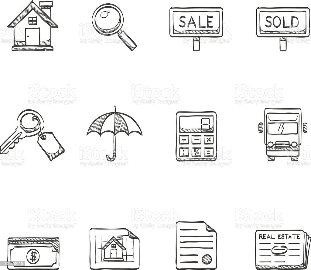 Sketch Icons - Real Estate royalty-free stock vector art