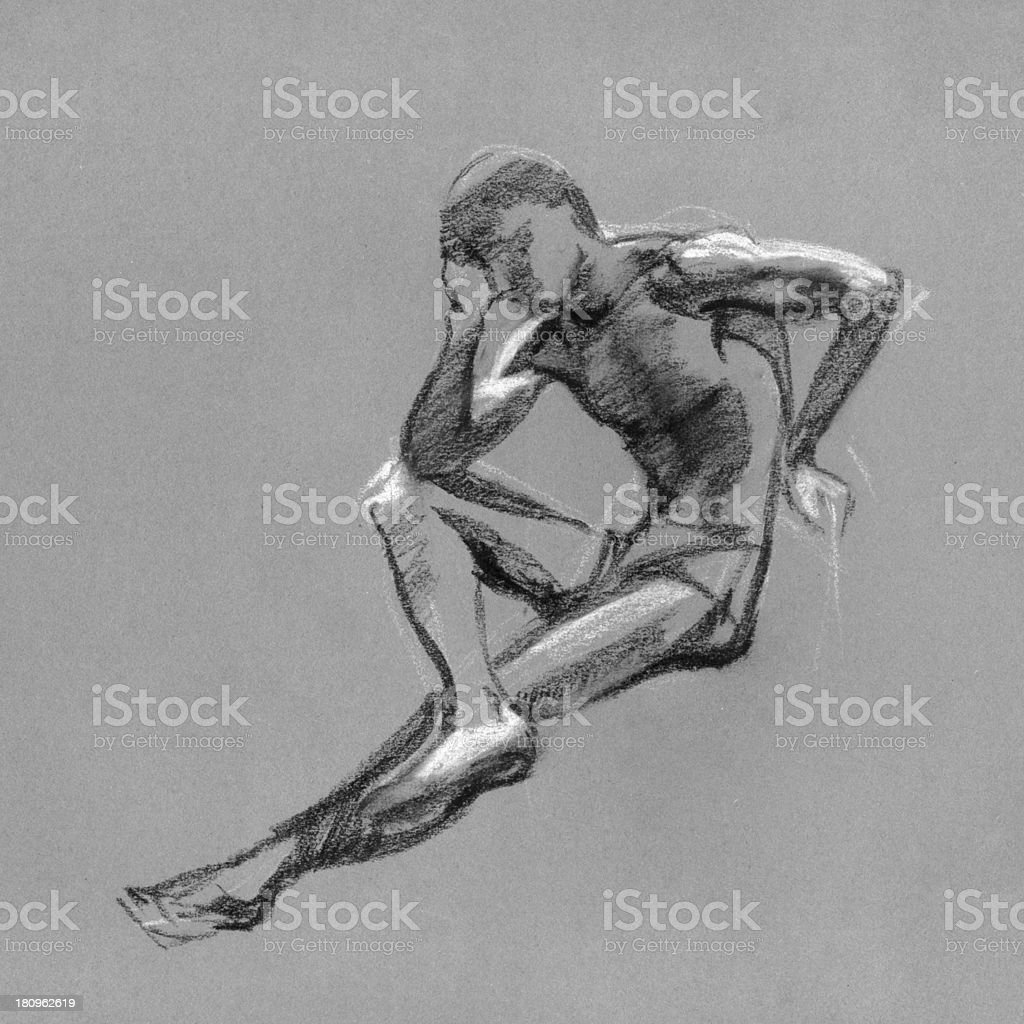 Sketch in charcoal and chalk of nude man body royalty-free stock vector art