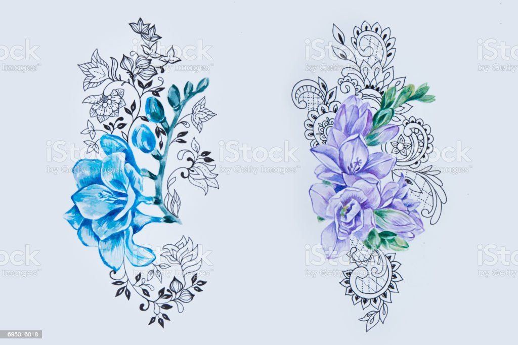 Sketch of a beautiful blue and violet freesia with patterns on white background. vector art illustration