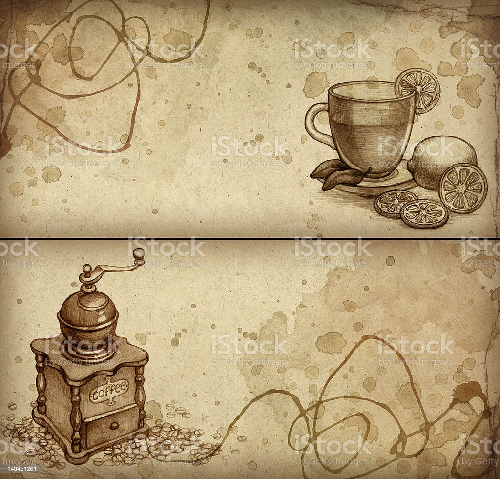 Sketch of coffee grinder and teacup royalty-free stock vector art