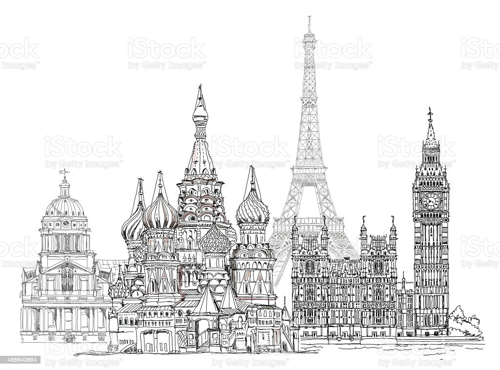 Sketch of famous buildings of Paris, London and Moscow vector art illustration