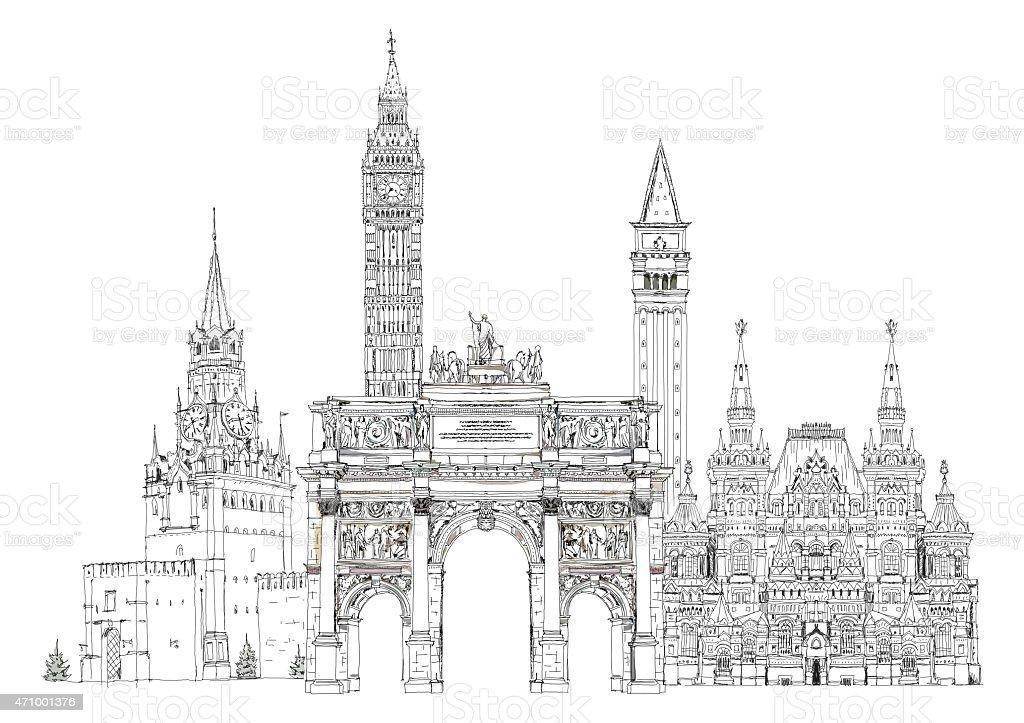 Sketch of famous buildings Paris, London, Moscow vector art illustration