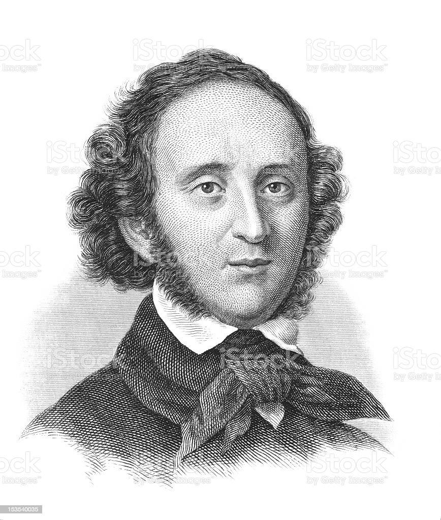 Sketch of Felix Mendelssohn-Bartholdy vector art illustration