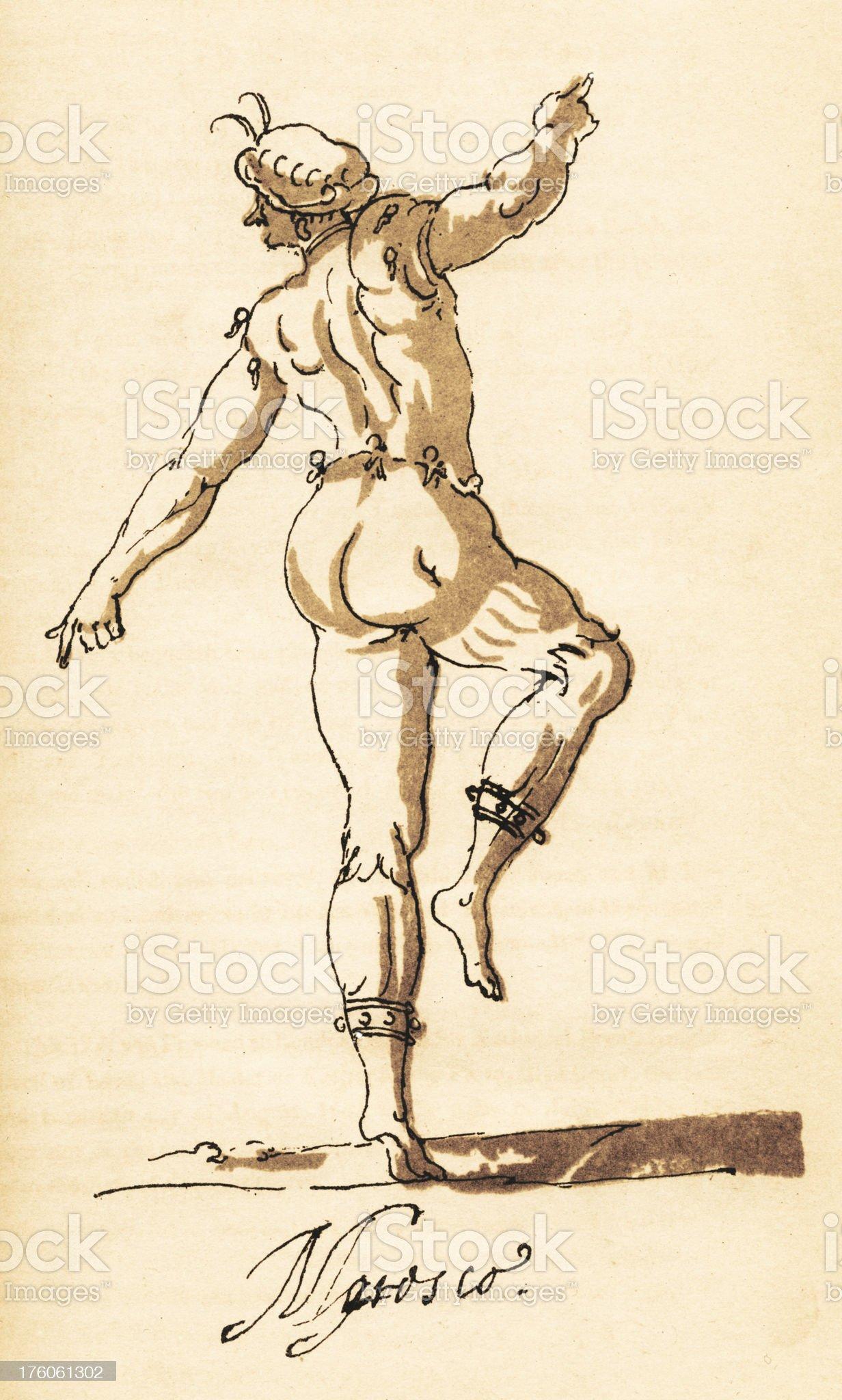 Sketch of Male Dancer by Inigo Jones, circa 1600s royalty-free stock vector art