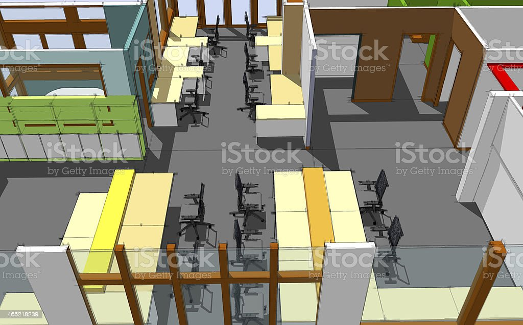 Sketch of office space royalty-free stock vector art