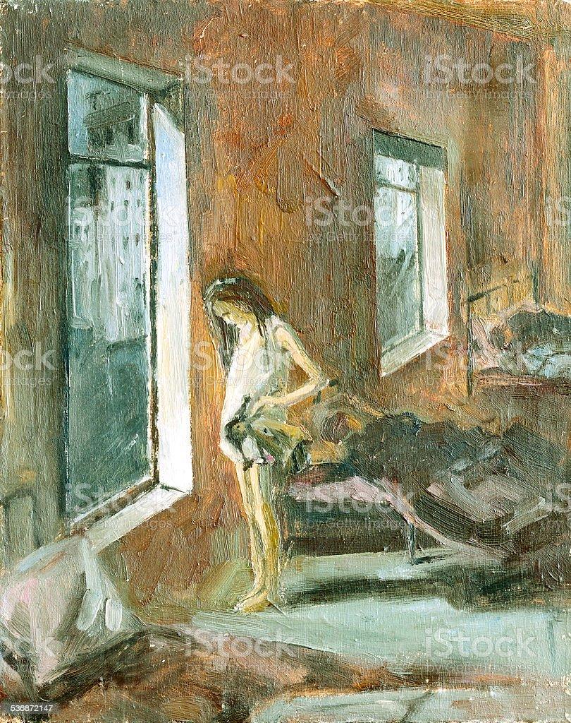 Schizzo di pennello olio dipinto e illustrazione royalty-free