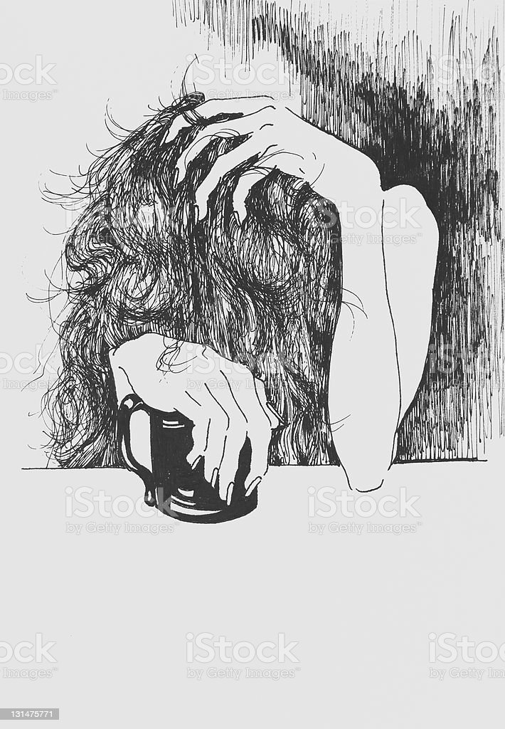 Sketch of Woman with Headache and Coffee vector art illustration