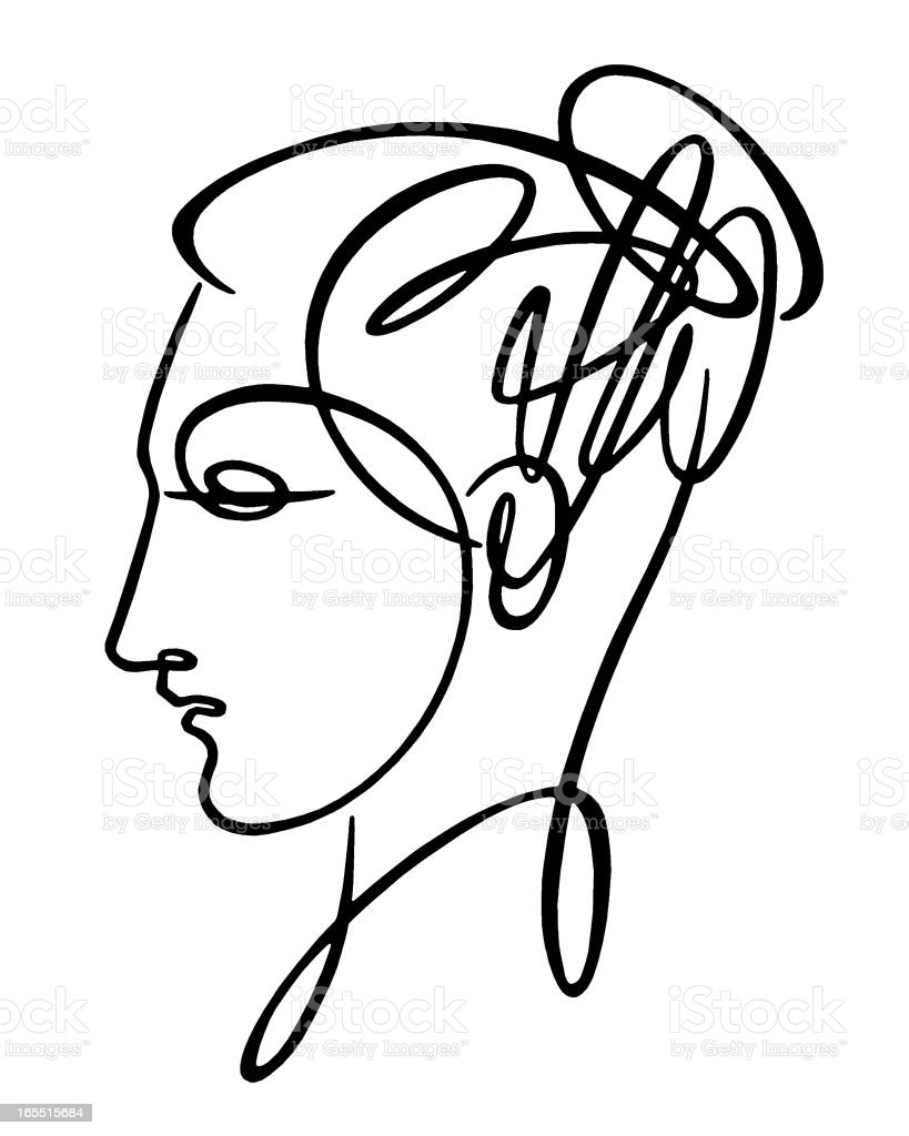 Sketch of Woman's Head royalty-free stock vector art