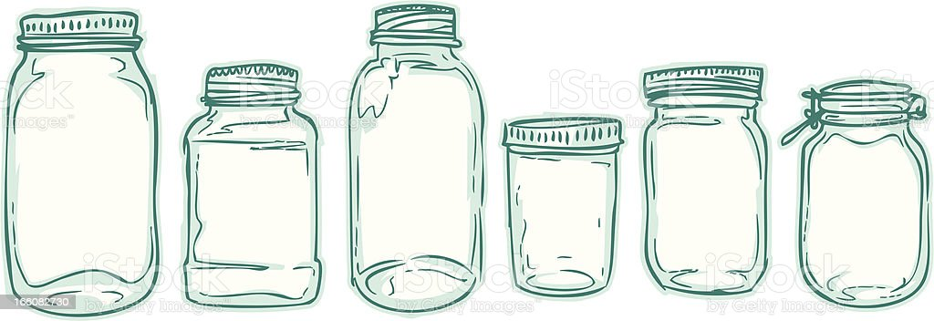 sketched jars vector art illustration