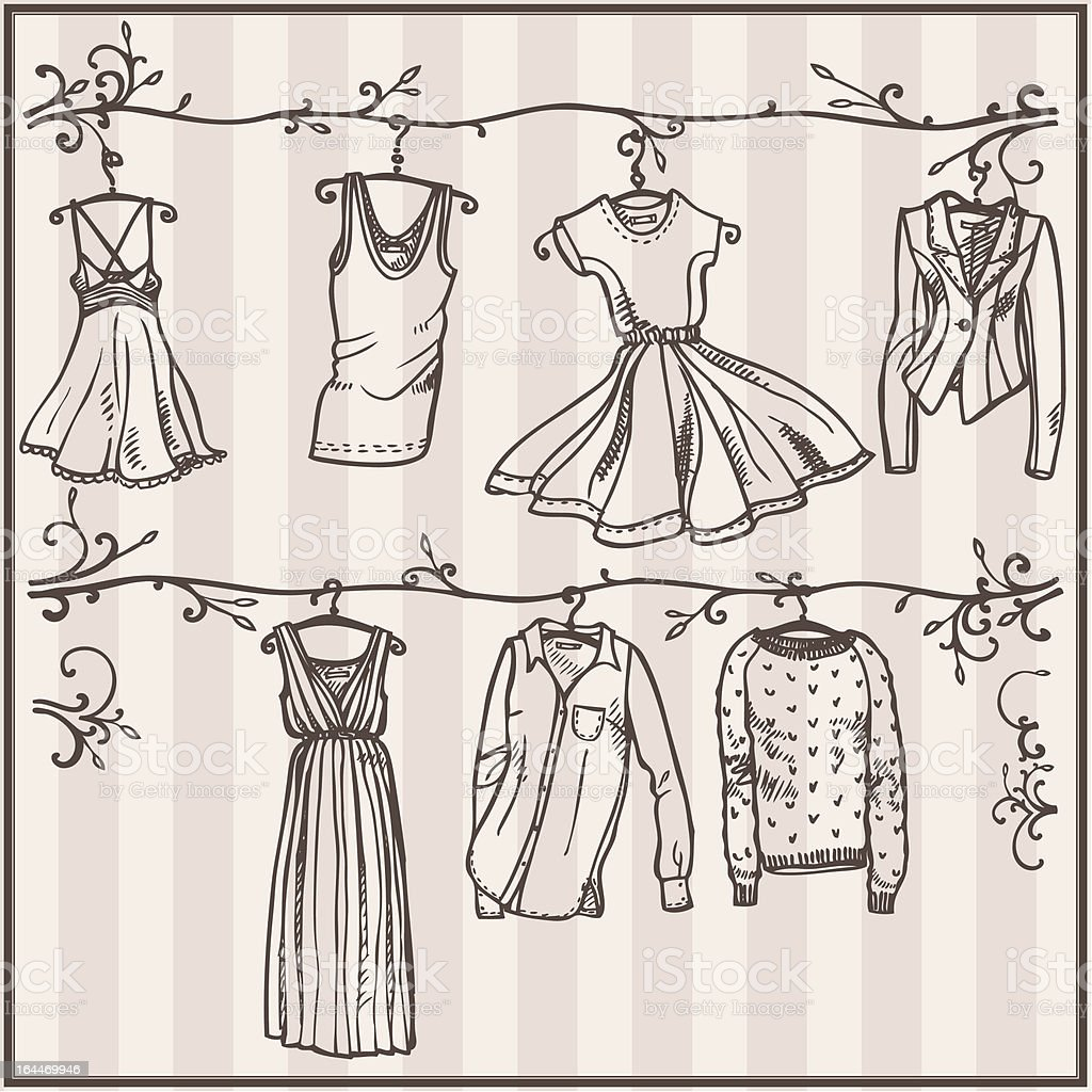 sketched ladies wardrobe vector art illustration