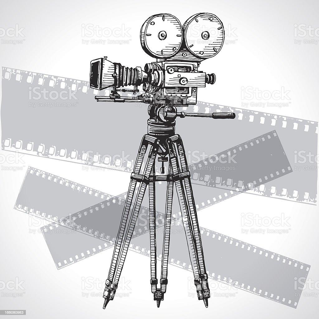 Sketched Movie Camera vector art illustration