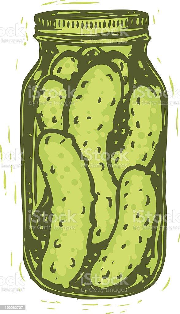 sketched pickle jar vector art illustration