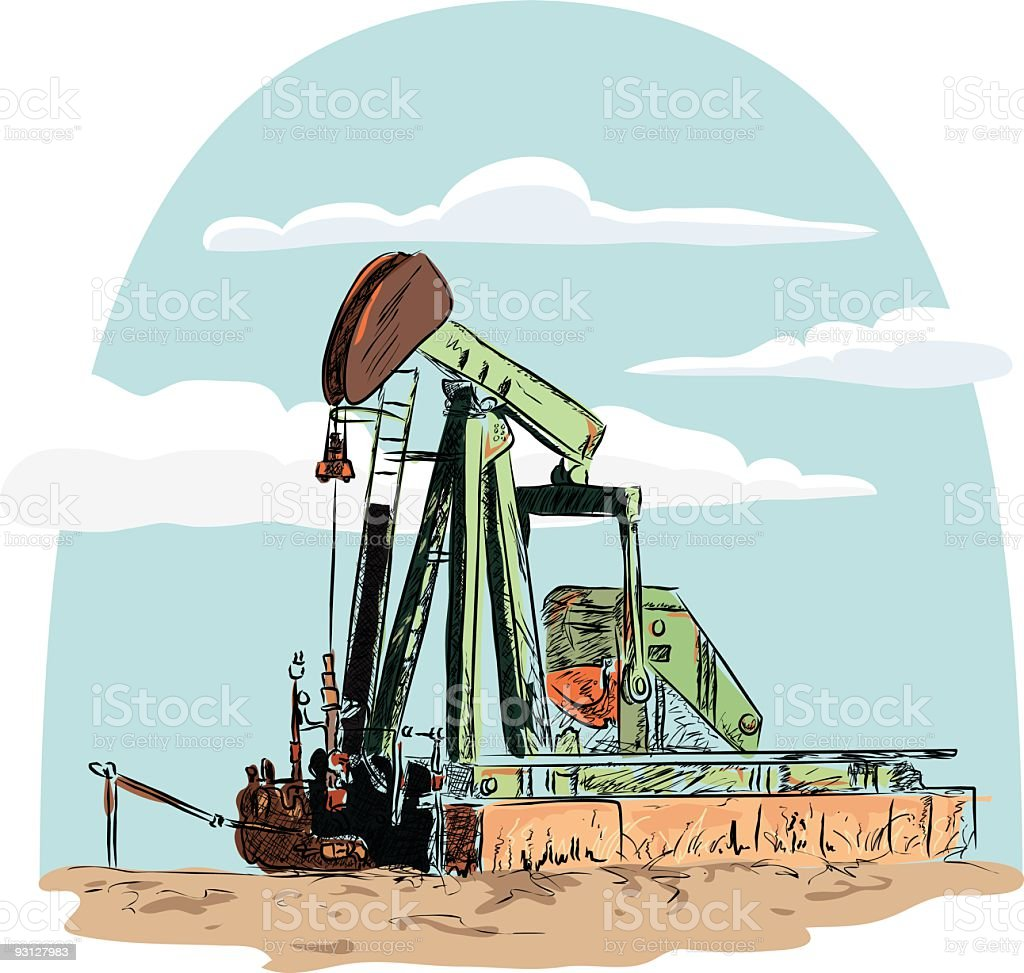 Sketched Pumpjack Illustration royalty-free stock vector art