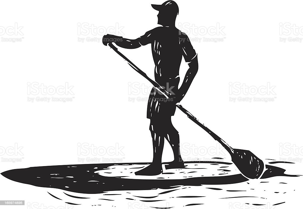 sketched stand up paddle surfer royalty-free stock vector art