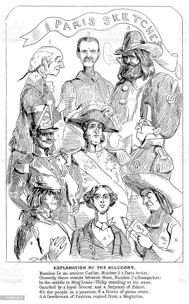 Sketches of Parisian characters vector art illustration