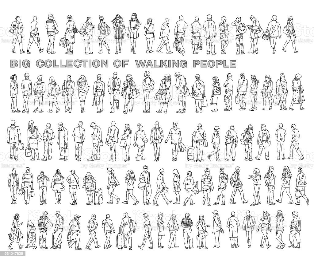 Sketches of people in various positions of walking stock photo