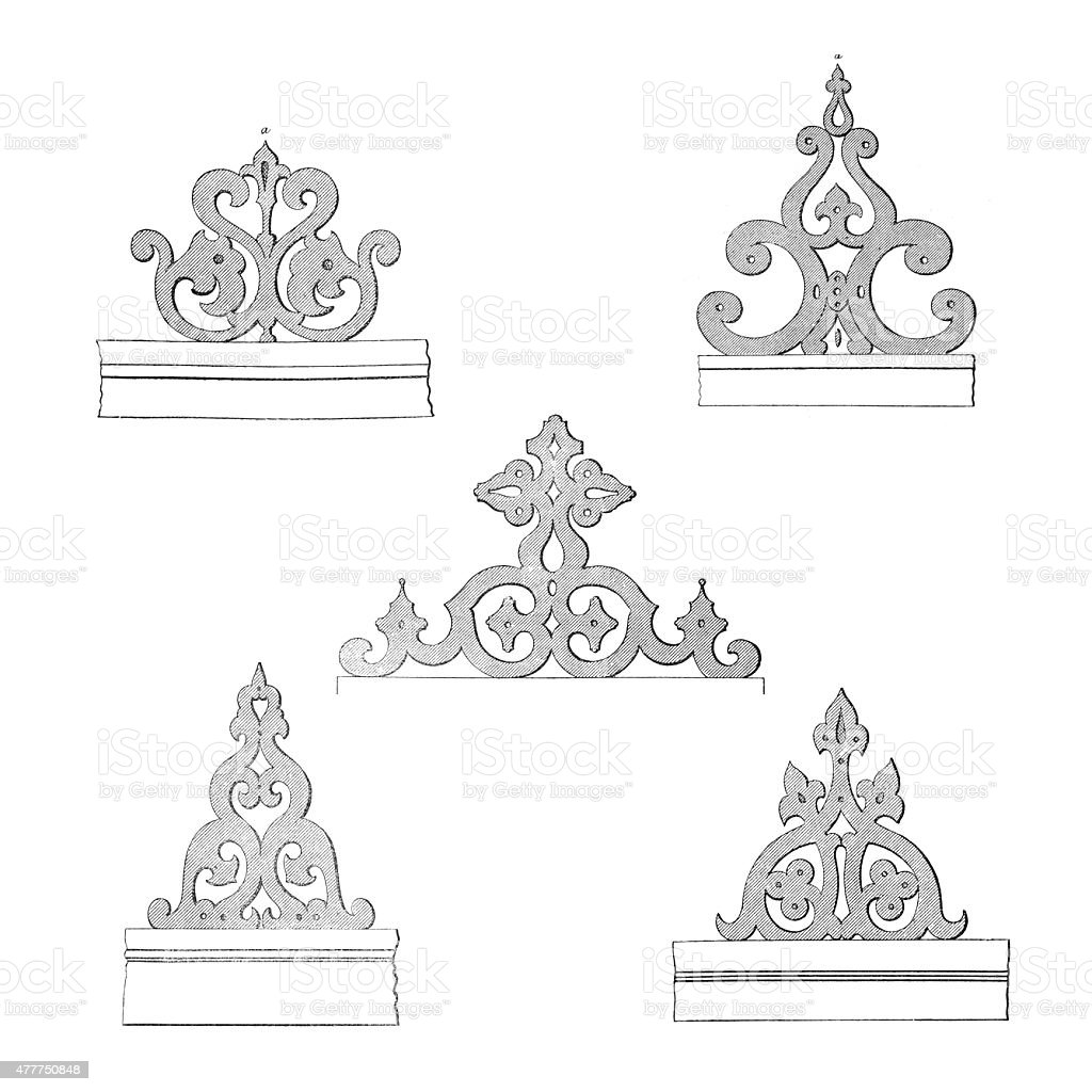 Sketches of woodwork for balconies vector art illustration