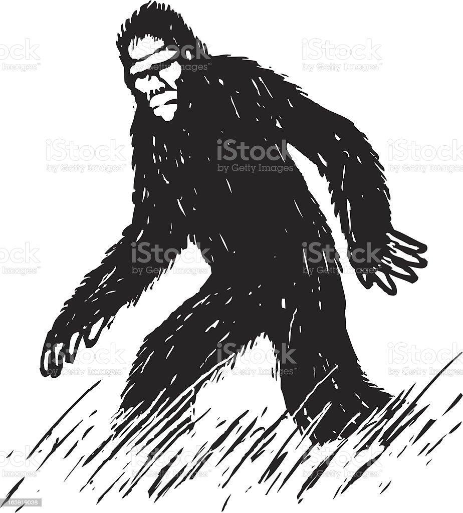 sketchy bigfoot vector art illustration