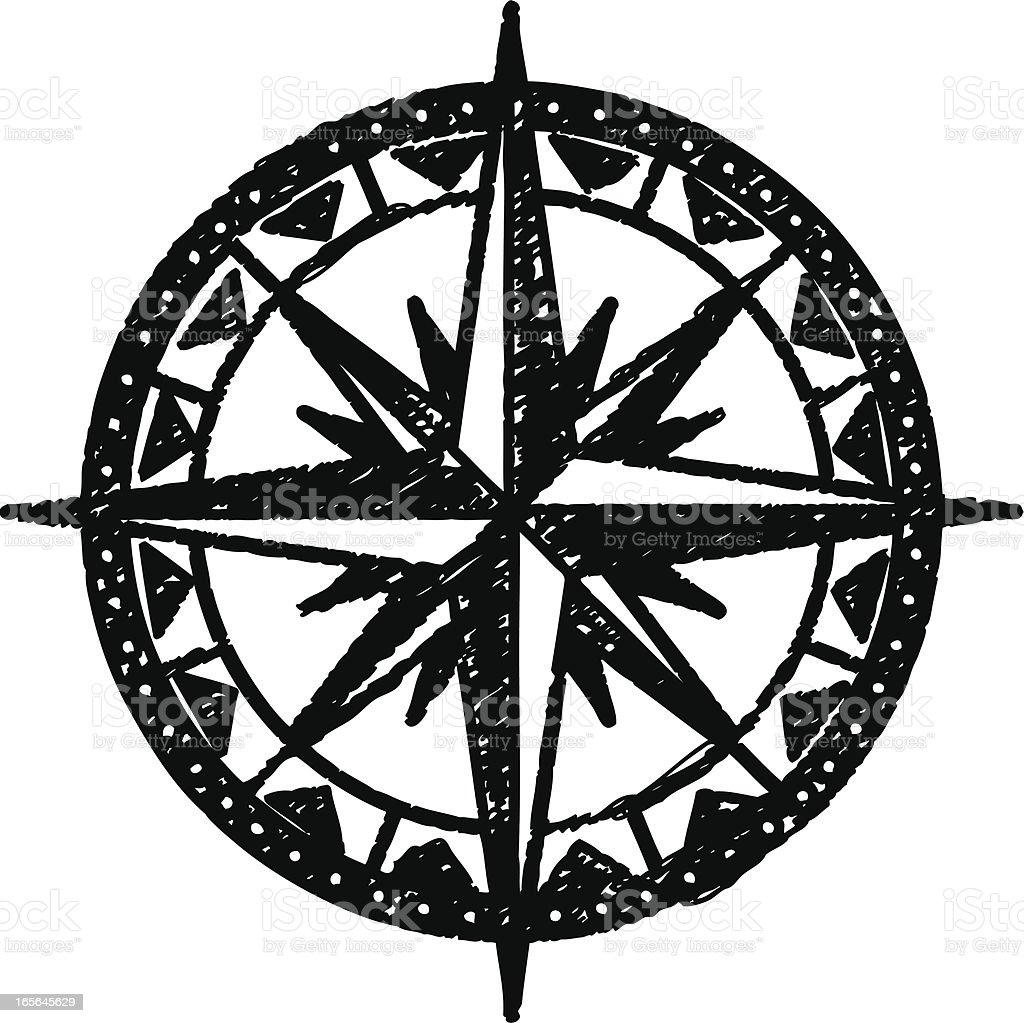 sketchy compass rose royalty-free stock vector art