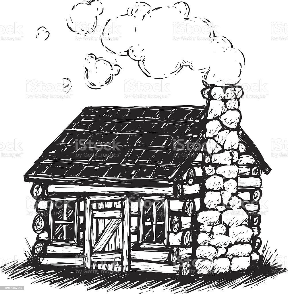 sketchy log cabin vector art illustration