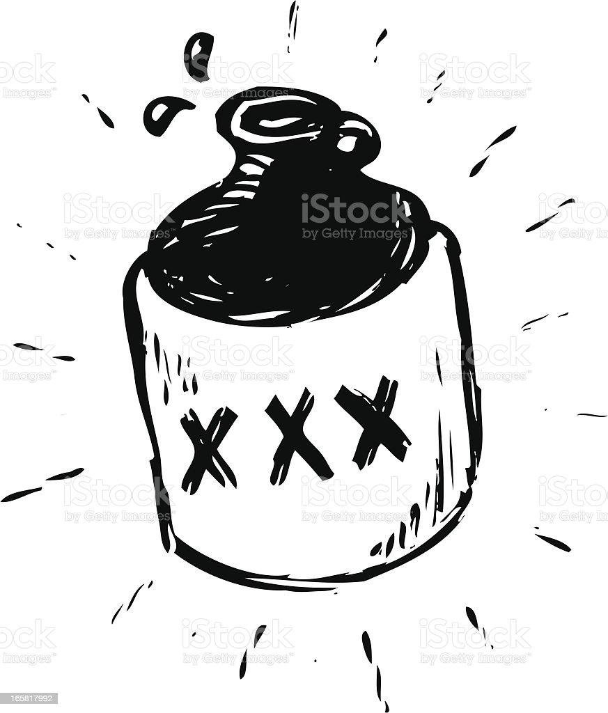 sketchy moonshine jug royalty-free stock vector art