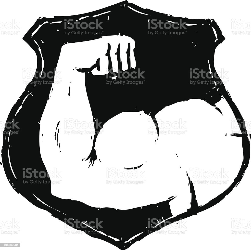 sketchy muscle badge royalty-free stock vector art