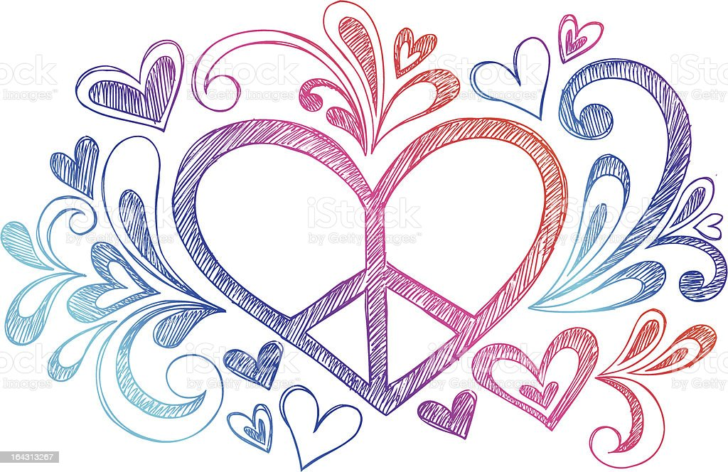Sketchy Notebook Doodle Peace Sign Heart vector art illustration