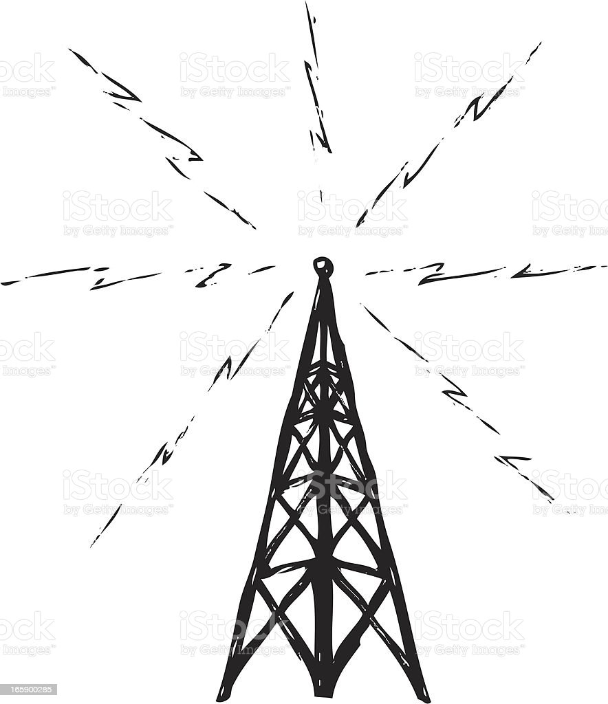 Broadcast Tower Vector Sketchy Radio T...