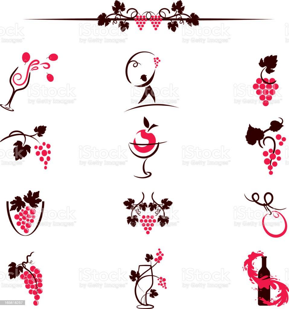 Sketchy Simplistic Wine Elements Computer Icons Illustration vector art illustration