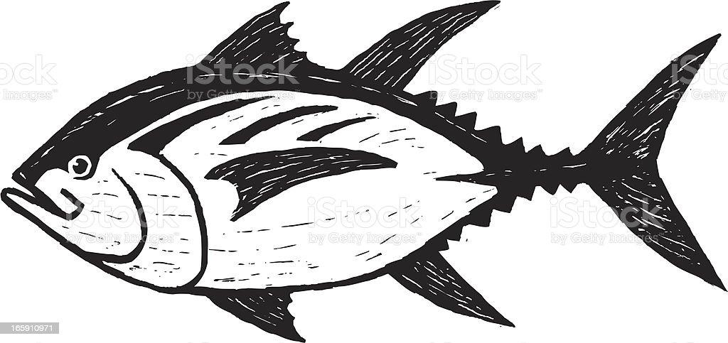 sketchy tuna vector art illustration