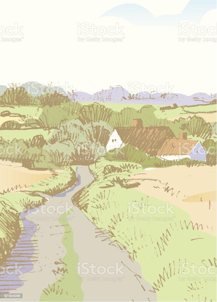 Sketchy vertical landscape vector art illustration