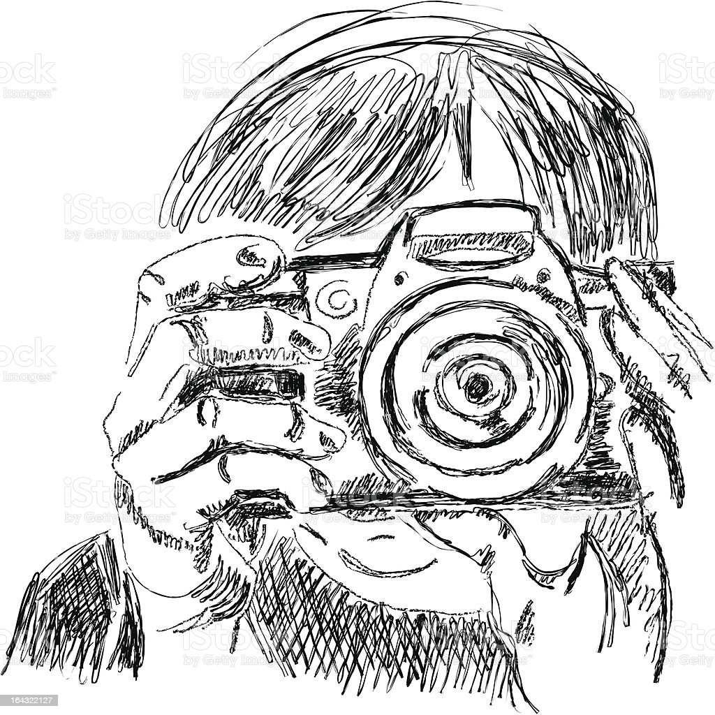 Sketck of photographer with slr camera royalty-free stock vector art