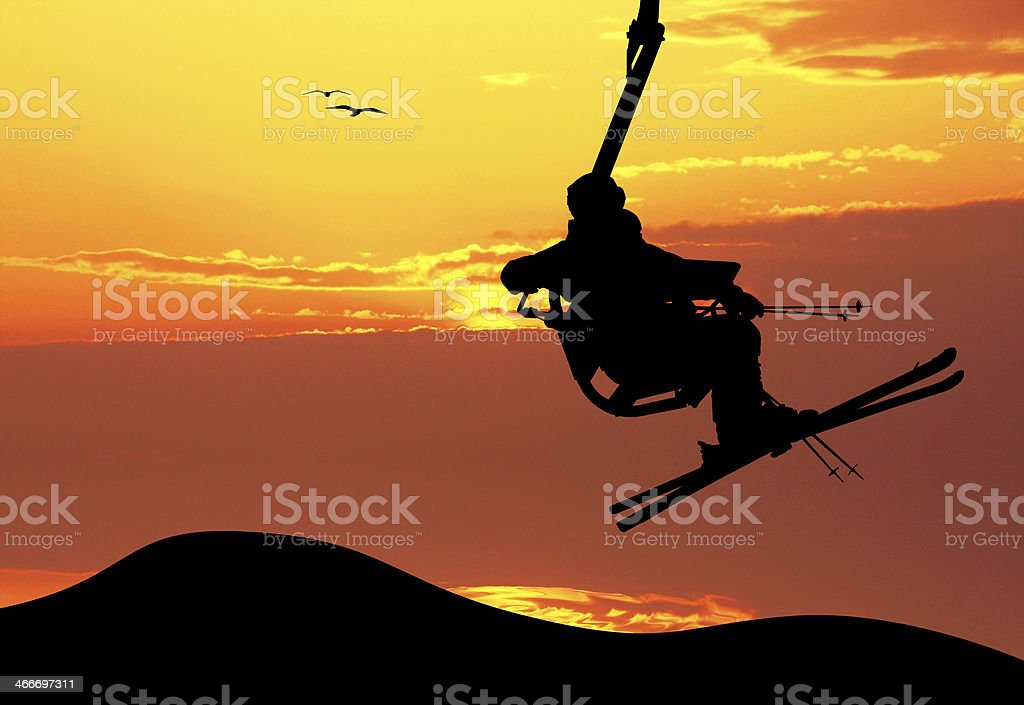 ski lift at sunset vector art illustration