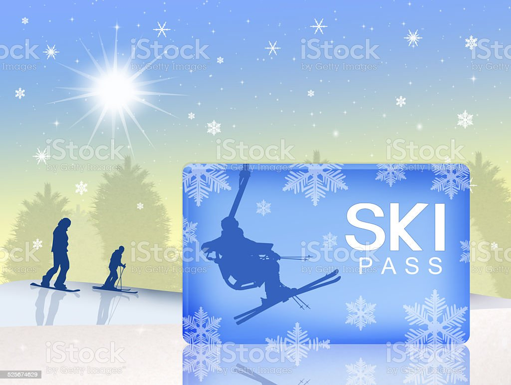 ski pass vector art illustration