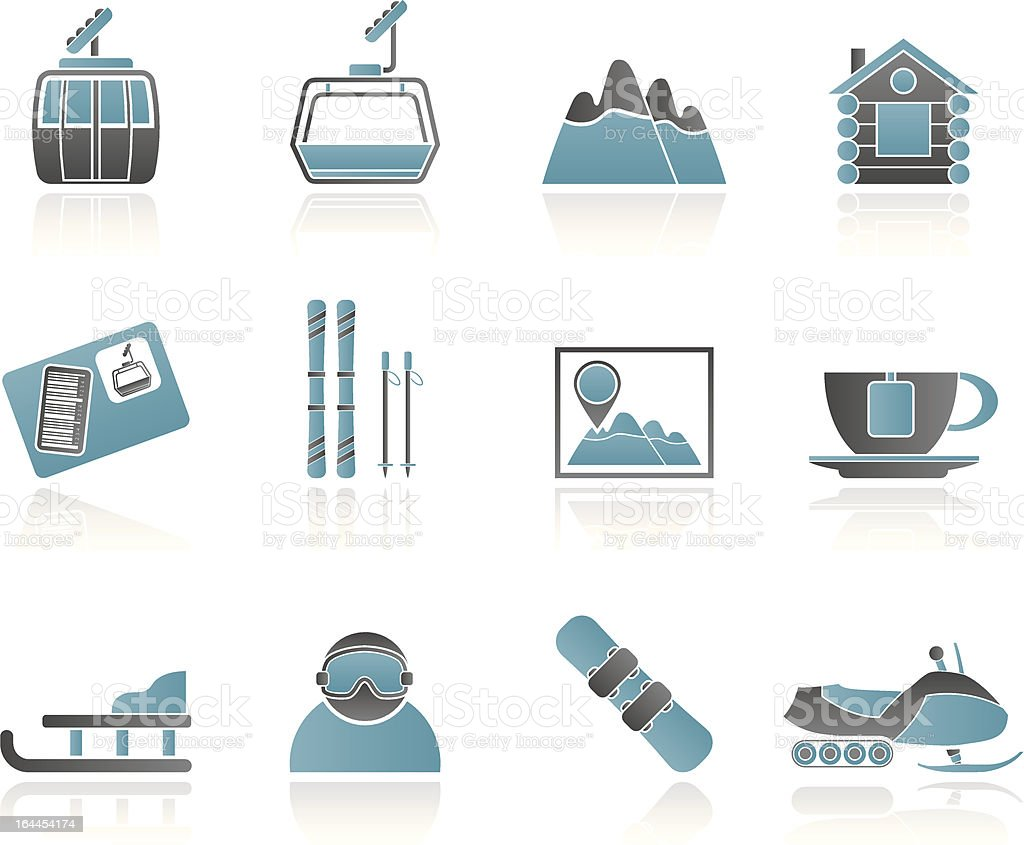 Ski Track and sport icons royalty-free stock vector art