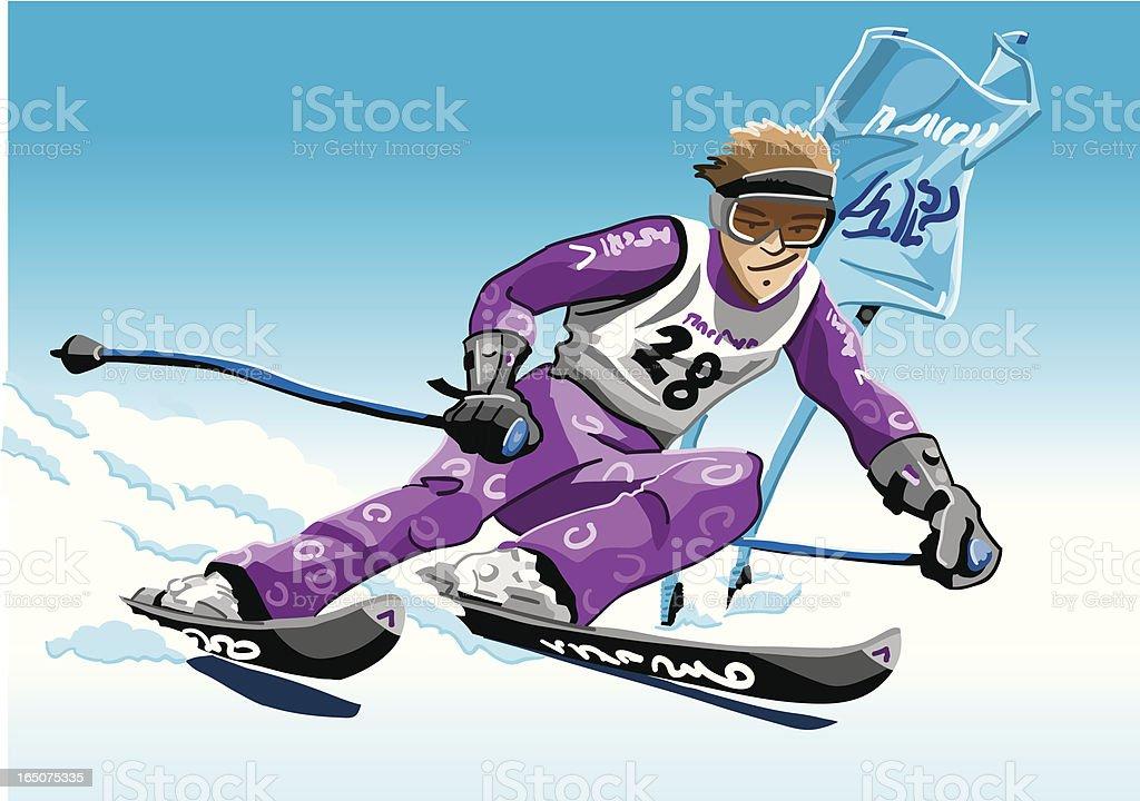 Skier Violet vector art illustration