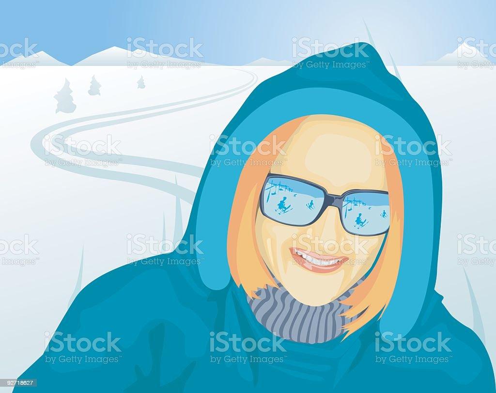 Skiing Girl royalty-free stock vector art