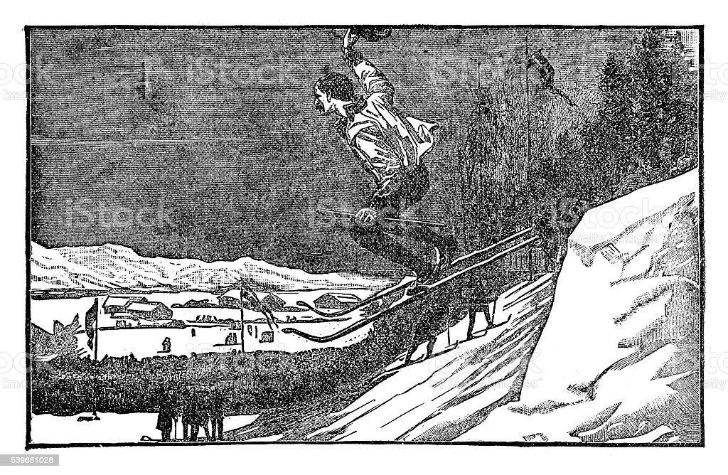 Skiing vector art illustration
