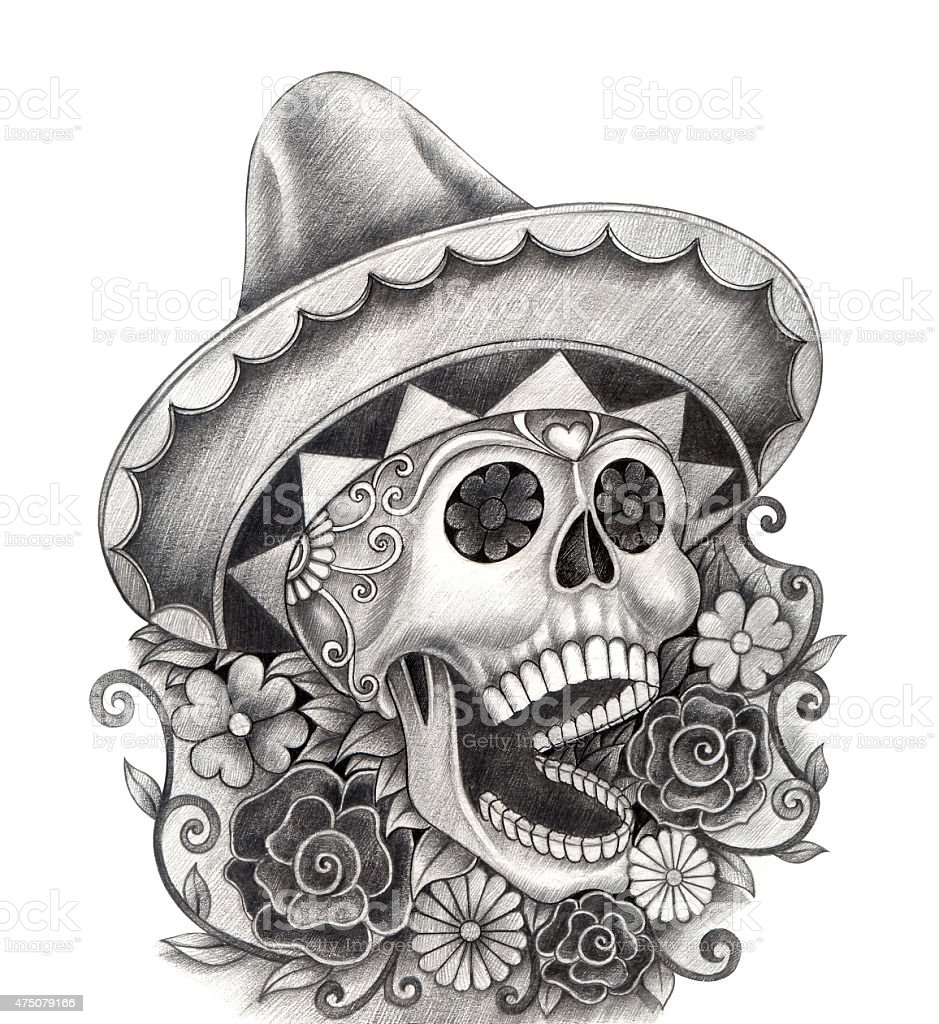 Skull art  Day of the dead. vector art illustration