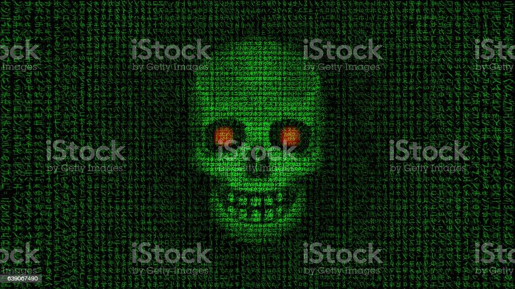 HACKED Skull made of data 3 Katakana version vector art illustration