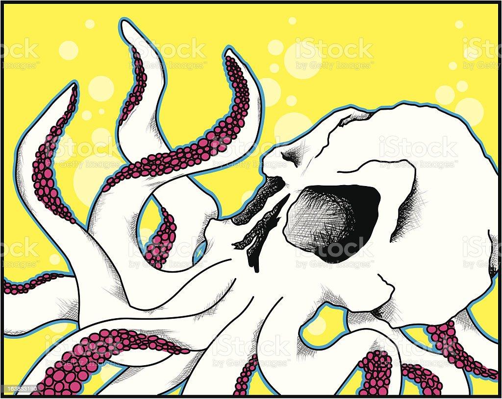 Skull Octopus of the Briny Deep vector art illustration