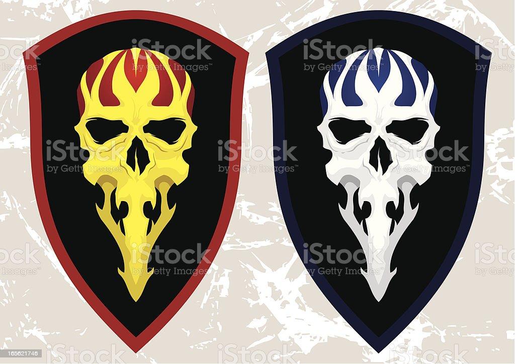 Skull on shield royalty-free stock vector art