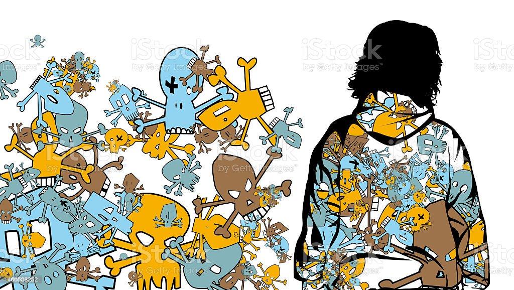 Skull pattern vector art illustration