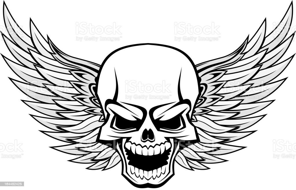 Skull with angel wings royalty-free stock vector art