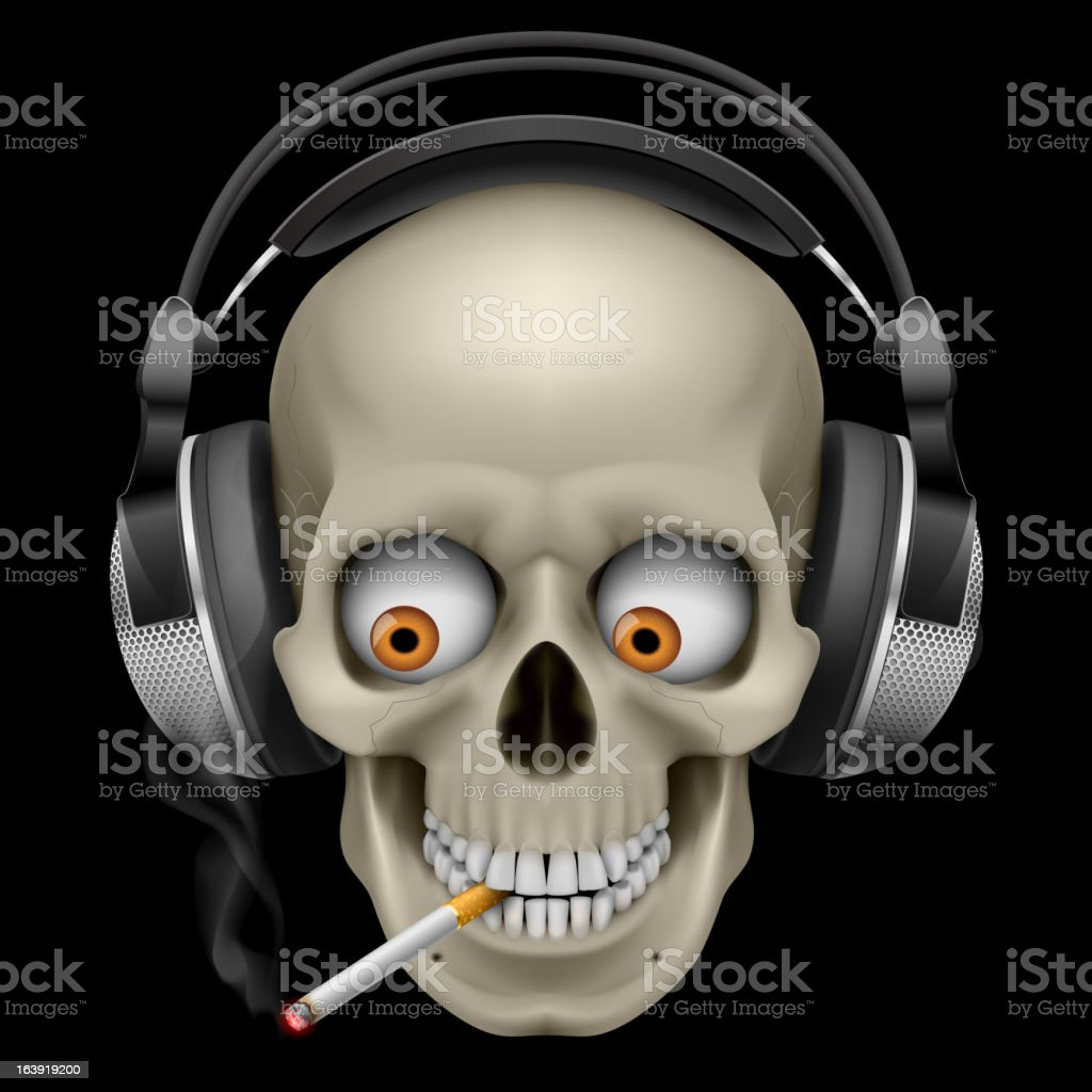 Skull with headphones vector art illustration