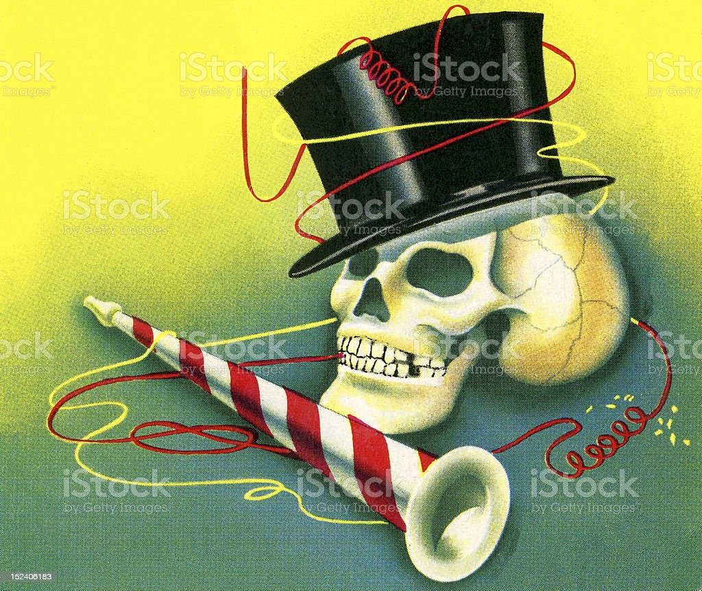 Skull With Top Hat and Party Horn vector art illustration
