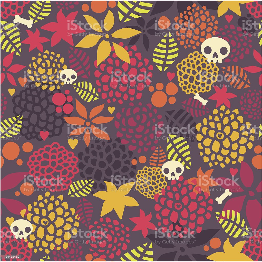 Skulls and flowers seamless pattern. royalty-free stock vector art